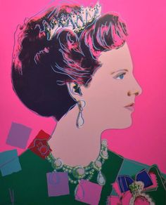 Queen Margrethe II of Denmark 345 by Andy Warhol is part of the Reigning Queens series produced by Warhol in 1985. The portfolio consists of sixteen screenprints. Warhol depicts these four female monarchs in their own right, rather than as women who were married to a king.