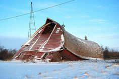 This red barn couldn't stand any longer...Ramsey County, ND