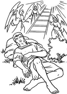 Jacob And The Stairway To Heaven Bible Coloring Page