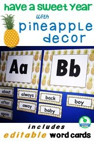 Fill your classroom with pineapple decor with these word wall letter headings and bonus 10 frames. Just add your words to create the resource your students need with a science, math or content area vocabulary anchor chart. Word Wall Labels, Word Wall Letters, Alphabet Words, Primary Classroom, Classroom Themes, Abc Cards, Content Area, Anchor Charts, Vocabulary