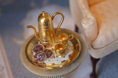Miniature Victorian Gold Tea Set  Miniature by AutumnsRose on Etsy, $10.50