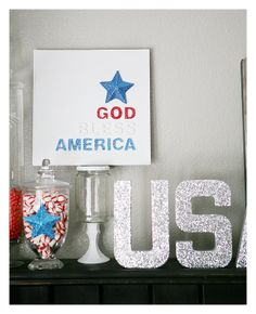 God Bless America Canvas - 4th of July Decoration