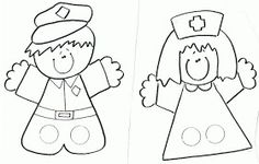 fingerpuppets: police and nurse Paper Puppets, Sock Puppets, Hand Puppets, Diy For Kids, Crafts For Kids, Finger Puppet Patterns, Kindergarten Social Studies, Ecole Art, Stencil Templates