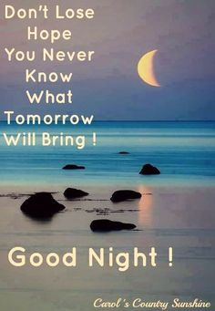 Good night! quote via Carol's Country Sunshine on Facebook