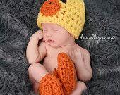 Baby Ducky outfit duck ducks chick hat beanie feet booties boots newborn photo prop costume halloween
