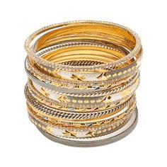 Amrita Singh - Rinda Bangle Set gold and gunmetal plated, Austrian crystals] Bangle Set, Bracelet Set, Bangle Bracelets, Baubles And Beads, Amrita Singh, Family Jewels, No Frills, Jewelry Box, Jewlery