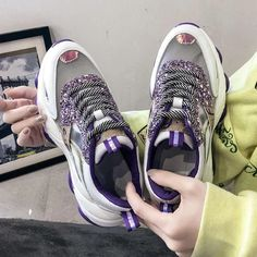 Women's Casual Shoes Flat Fashion Breathable Thick Bling Sneakers | Touchy Style Sneakers For Sale, Girls Sneakers, Best Sneakers, Black Sneakers, Girls Shoes, Chunky Sneakers, Shoes Women, Trendy Shoes, Casual Shoes