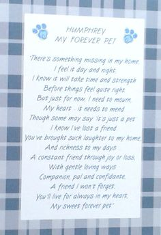 Unique PERSONALISED sympathy card for loss of a pet dog, cat or any animal