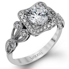 Romantic & Vintage Simon G Engagement Ring @ Kranich's Jewelers.
