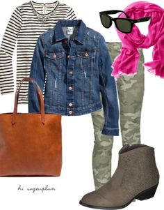Favorite Fall outfits, featuring camo pants and stripes Fall Outfits, Casual Outfits, Cute Outfits, Fashion Outfits, Outfit Winter, Outfits With Striped Shirts, Green Skinny Jeans, Green Pants, Autumn Winter Fashion