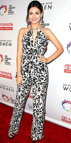 Last Night's Look: Love It or Leave It? | VICTORIA JUSTICE | in a white-and-black graphic halter jumpsuit and black platform sandalsat theLos Angeles LGBT Center benefitevent in L.A.