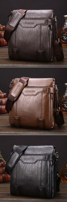 US$29.56#Men Business Vintage Multi-pocket Comfortable PU Leather Shoulder Bags Crossbody Bags