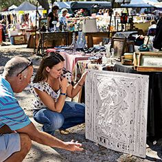 Antiques fairs offer great deals on salvage, such as this fireplace summer front. See tips for taking advantage of discount prices and quick sales