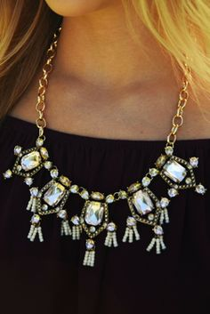Share to save 10% on  your order instantly!  Crystal Clear Necklace: Gold/Multi