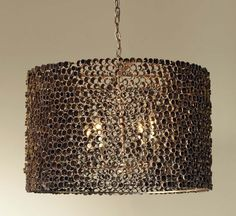 Drum Chandelier made up of individual lengths of gold pipe - with a 4 way bulb fitting. Available in large or small size. Max 40 watts per bulb (4 bulbs).
