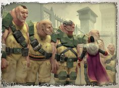 (An Ogryn squad being briefed by a Commissar) In the late Millennium, an Abhuman is a descendant of baseline human settler. Ogryns and the other known Abhumans 40k Imperial Guard, Imperial Army, Warhammer 40k Art, Warhammer Fantasy, 40k Armies, The Horus Heresy, Nova Era, Space Wolves, Game Workshop
