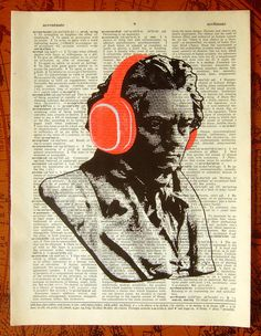 Beethoven in Headphones- Hand Painted Mixed Media art print Music Illustration, Music Painting, Dictionary Art, Old Book Pages, Music Film, Mixed Media Art, Book Art, Original Artwork, Digital Prints