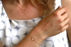 Gold Circle Halskette und Armband Set Gold-Schmuck Set Gold