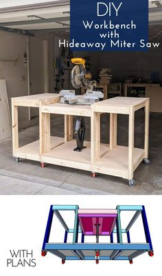 Grab plans to build this all-in-one workbench with a hideaway miter saw. It's perfect for small shops or garages where you don't have room for a permanent miter saw station.    #woodworking #woodshop #shoporganization #shopideas #workbench Garage Workbench Plans, Building A Workbench, Diy Workbench, Wood Shop Projects, Woodworking Projects Diy, Woodworking Plans, Woodworking Shop Layout, Garage Workshop Organization, Diy Garage Storage