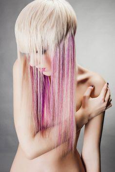 Lilac platinum hair color