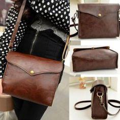 New Womens Leather Shoulder Bag Satchel Clutch Handbag Tote Purse Hobo Messenger (Color: Brown)