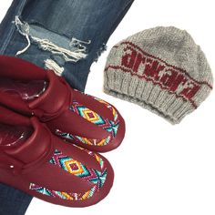 We are a bit smitten with our Arikara beanies...pair it up with some matching mocs! :)   #arikara #beanies #knitwear #knitcaps #artisan #moccasins #deerskin #beadwork #flatlay #nativestyle #womenswear #comfort #footwear #beadwork #knitting #boho #style #artwear #handmade with #love