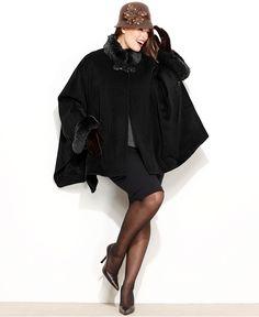 Jones New York Plus Size Coat, Faux-Fur-Trim Cape - Plus Size Coats - Plus Sizes - Macy's
