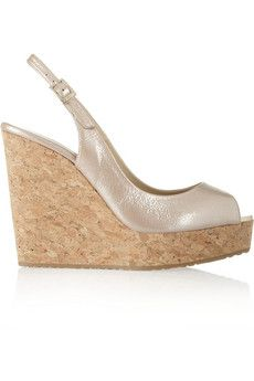 Cork wedge heel measures approximately 5 inches with a inch platform Metallic beige patent-leather Almond peep toe, gripped rubber sole Buckle-fastening slingback strap Designer color: Frappe Alexander Mcqueen Bracelet, Mcq Alexander Mcqueen, Foot Games, Anna Sui Dresses, White Wedges, Chloe Bag, Slingbacks, Kinds Of Shoes, Jennifer Fisher