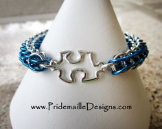 Light It Up Blue Autism Awareness Month - Puzzle Charm Autism Bracelet - Handmade Chainmaille Jewelry. $25.00, via Etsy.