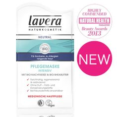 lavera Neutral Face Mask for sensitive, highliy sensitive and allergy prone skins was Highly Commended in the Natural Healthy and Beauty Awards 2013