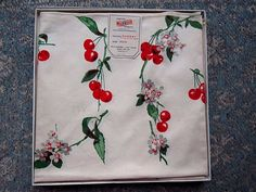 NEW IN BOX WILENDUR CHERRY CHERRIES BLOSSOM BRIDGE TABLE CLOTH 34-1/2 by 35-1/2  | eBay