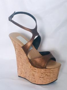 7 inch Copper Brown / Cork X Ankle Strap Wedge High Heel Platform Woman Foot Fetish Stripper Shoes Ankle Strap Wedges, Shoes Heels Wedges, Ankle Straps, Wedge Shoes, Wedge Sandals, Clogs Shoes, Heeled Flip Flops, Stripper Shoes, Platform High Heels