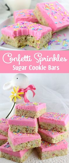 A unique take on a Frosted Sugar Cookie, these Confetti Sprinkles Sugar Cookie Bars are delicious, easy to make and will be an instant family favorite Easter Dessert. Make your family an Easter Treat that they are sure to love!
