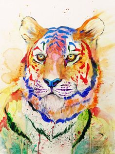 is Radio, rediscovered - Happy Relaxing. Watercolor Tiger, Tiger Painting, Watercolor Animals, Painting & Drawing, Watercolor Paintings, Painting Abstract, Watercolour, Art And Illustration, Animal Paintings