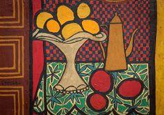 Bule, fruteira e frutos sobre a mesa, s.d. Genaro de Carvalho (Brasil, 1926 – 1971) óleo sobre madeira, 18 x 22 cm