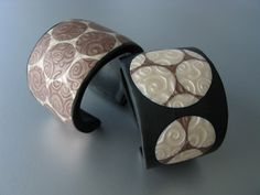 Cuff Bracelets - Pearl and Chocolate Circles by ST-Art-Clay, via Flickr