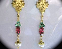 1920s Vintage style Art Deco crystal real pearl earrings gold filled hooks