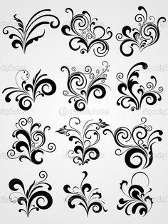 черный элемент дизайн татуировки с границей - Стоковая иллюстрация: 1550790