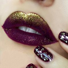 """Creative look with glitter & berry lips. Recreate this look with NYX Cosmetics 'Soft Matte Lip Cream' in """"Copenhagen"""" and 'Face & Body Glitter' in """"Gold"""""""