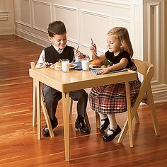 Kids Folding Wood Table and Chairs