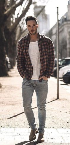- with a fall combo idea with a blue tan plaid button up shirt white t-shirt light wash denim brown suede chelsea boots. Mens Fashion Blazer, Mens Fashion Sweaters, Mens Fashion Shoes, Brown Suede Chelsea Boots, Herren Outfit, Clothing Hacks, Gentleman Style, Streetwear Fashion, Fall Outfits