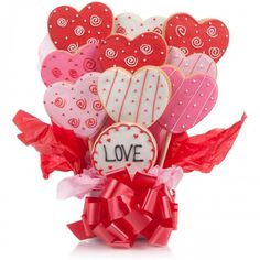 Give a gift that's always in good taste with the Lovely Heart Cookie Bouquet, available at the Food Network Store
