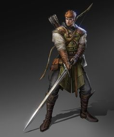 m Rogue Thief Leather Armor Cloak Longsword Longbow Hand Axe male undercity urban City ArtStation by Tina Yeh med Fantasy Character Design, Character Design Inspiration, Character Concept, Character Art, Fantasy Male, Fantasy Armor, Medieval Fantasy, Dungeons And Dragons Characters, Dnd Characters
