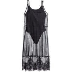 Mesh Dress with Bodysuit $17.99 found on Polyvore featuring dresses, bodysuit, h&m, vestidos, mesh dress, jersey dress, harness dress, h&m dresses and mesh jersey