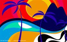 As cores do surf Surf Retro, Headboard Art, Painting The Roses Red, Large Artwork, Surf Art, Beach Scenes, Beach Art, Rock Art, Decoration