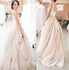 Champagne Chiffon Short Train Skirts/Wedding Bridal Party Formal Maxi Skirt #Handmade #Maxi