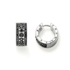 b80a19d4c THOMAS SABO earrings made from blackened 925 Sterling Silver with black  syn. Zirconia (Size