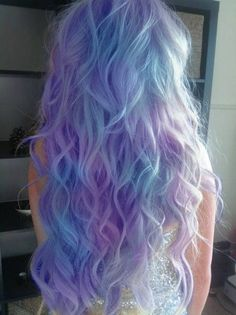 Light purple & blue dip dyed hair