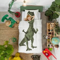 Supercool dinosaur Rex duvet cover by Snurk with life-size dinosaur Rex print. Who dares to sleep between the large teeth of the dinosaur? Dinosaur lovers w Dinosaur Kids Room, Dinosaur Room Decor, Jungle Theme Rooms, Jungle Room, Toddler Rooms, Kids Room Design, Room Themes, Illustrations, Decoration