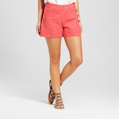 Women's Brushed Linen Side Button Sailor Shorts - Xoxo (Juniors') Pink 12